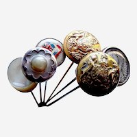 Edwardian hatpins mother of pearl and fancy metal hat ornaments