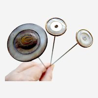 Late Edwardian hatpins mother of pearl and fancy metal hat ornament