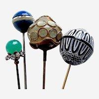Edwardian hatpins fancy glass or ceramic metal hat ornament