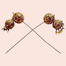 Matched pair early Victorian Moorish style hairpin or hat ornament