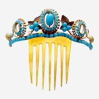 Victorian hinged tiara style glass beads hair comb ornament