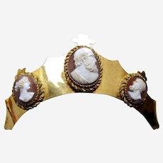 Victorian tiara style hair ornament headdress with shell cameos