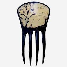 Art Deco Japanaiserie scenic parti colour hair comb ornament