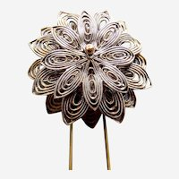 Late Victorian hinged filigree flower hair comb accessory
