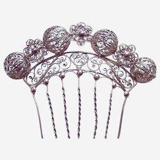 Late Victorian Spanish style filigree balls hair comb accessory