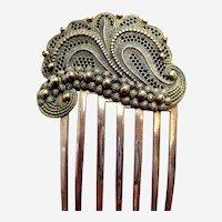 Late Victorian asymmetric design hair comb filigree accessory