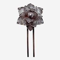 Late Victorian silver tone filigree flower hair comb accessory