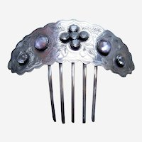 Early Victorian silver hair comb faceted crystals hair accessory