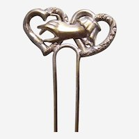 Late Victorian figural hand hair pin comb ornament