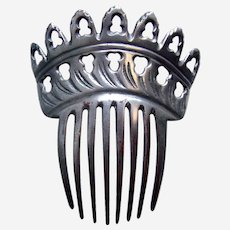 Victorian silver tone metal hair comb Spanish style hair accessory