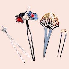 Four vintage Japanese hair pins kanzashi style hair ornaments