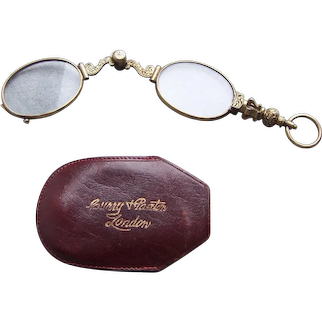 Early 20th century spring mounted cased lorgnette