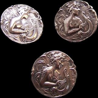 Set of Art Nouveau silver buttons figural nude female