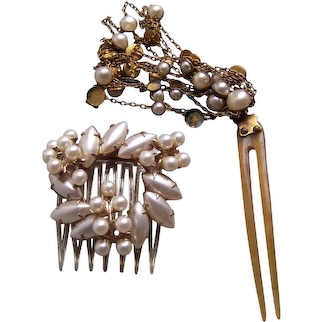 Two mid century Hollywood Regency hair ornaments faux pearls hair accessory
