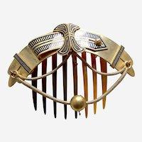 Victorian Moorish style hinged hair comb enamel decorated hair ornament