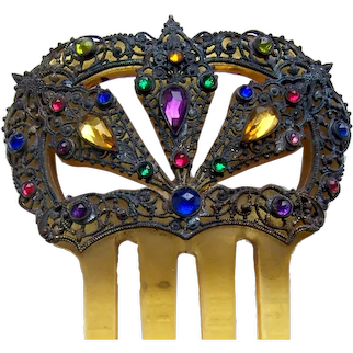 Art Deco hair comb with multi coloured glass stones hair accessory