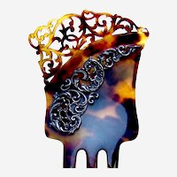 Faux tortoiseshell Spanish style hair comb with silver scrolls hair ornament