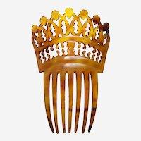 Victorian pierced steer horn hair comb Spanish style hair ornament