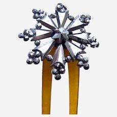 Victorian hinged hair comb cut steel star motif hair accessory