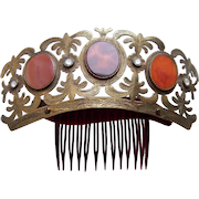 Regency gilded brass tiara with carnelian and crystal as found