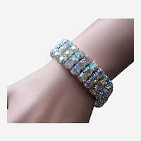 Expanding bracelet AB rhinestone 1980s