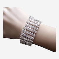 Expanding bracelet clear rhinestone 1980s