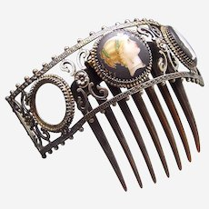 Victorian hair comb with painted roundels as found