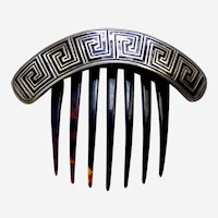 Classic Victorian hinged hair comb with enamel Greek key design