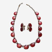 Coro demi parure with amber colour moon glow necklace earrings