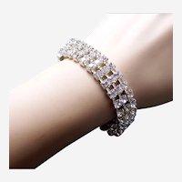Cuff bracelet 4 row clear rhinestone 1980s