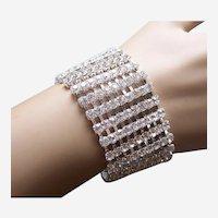 Cuff bracelet 9 rows clear rhinestone 1980s (AAG)