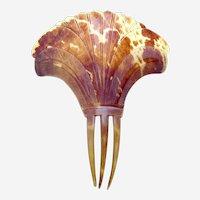 Regency hair comb pressed steer horn Spanish mantilla style