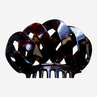 Victorian tortoiseshell hair comb loops design as found