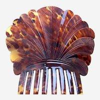 Spanish style hair comb natural pressed tortoiseshell hair ornament