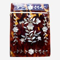 Antique tortoise shell visiting card case with mother of pearl