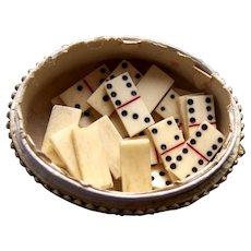 Miniature dominoes doll sized hand made bone