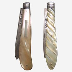 Two folding fruit knives mother of pearl sterling silver Sheffield