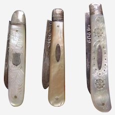 Three folding fruit knives mother of pearl sterling silver