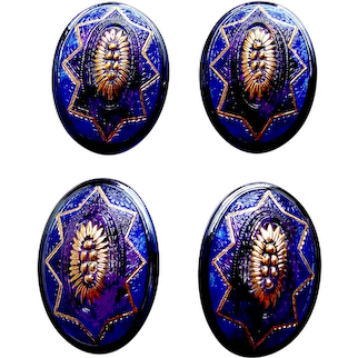 Vintage Czech glass fancy self shanked sewing buttons