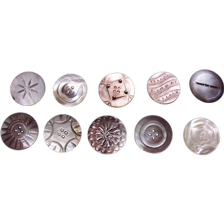 Large lot vintage mother of pearl carved sewing buttons (AAB)