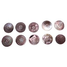 Large lot vintage mother of pearl carved sewing buttons (AAC)