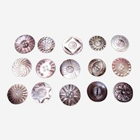 Large lot vintage mother of pearl carved sewing buttons (AAF)