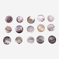 Large lot vintage mother of pearl carved sewing buttons (AAG)