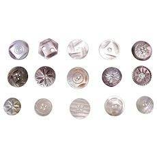 Large lot vintage mother of pearl carved sewing buttons (AAM)