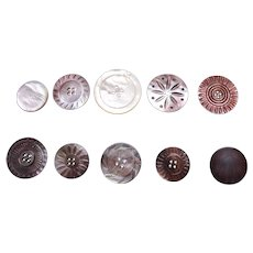Large lot HUGE vintage mother of pearl carved sewing buttons (XXX)