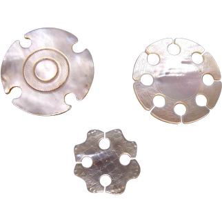 Three antique circular Chinese mother of pearl thread winders (AAC)