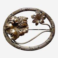 Art Nouveau brooch moulded brass leaf shapes