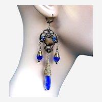 Vintage Czech earrings art glass dangle beaded chandelier style for pierced ears (AAA)