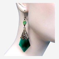 Vintage Czech earrings art glass dangle beaded chandelier style for pierced ears (AAB)