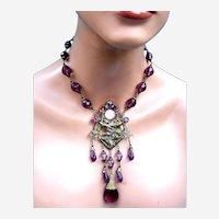 Vintage Czech art glass dangle beaded chandelier style necklace in Art Nouveau style (AAC)